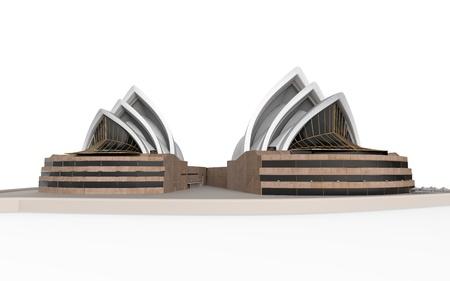 utzon: Sydney Opera House Isolated on White Background  Stock Photo