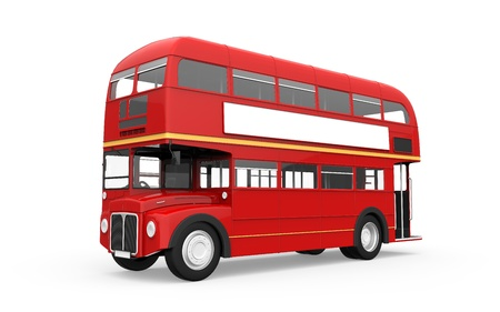 old english: Red Double Decker Bus Isolated on White Background