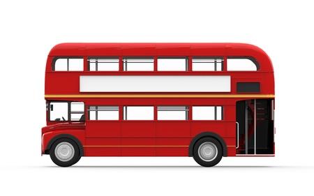 chofer de autobus: Red Autobús de dos pisos aislada sobre fondo blanco