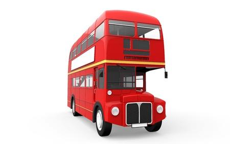 chofer de autobus: Red Autob�s de dos pisos aislada en el fondo blanco