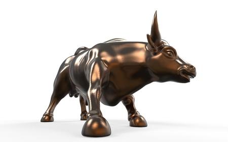 wall street bull: Wall Street Charging Bull Statue Stock Photo
