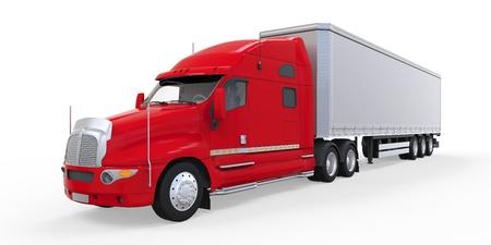 semitrailer: Red Trailer Truck Isolated on White Background