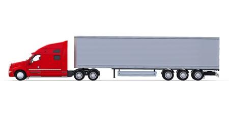 camion volquete: Cami�n Remolque Rojo Aislado sobre fondo blanco