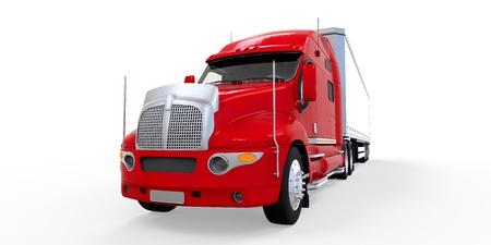 camion volteo: Cami�n Remolque Rojo Aislado sobre fondo blanco