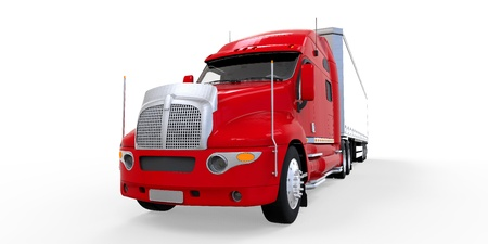 semi truck: Red Trailer Truck Isolated on White Background