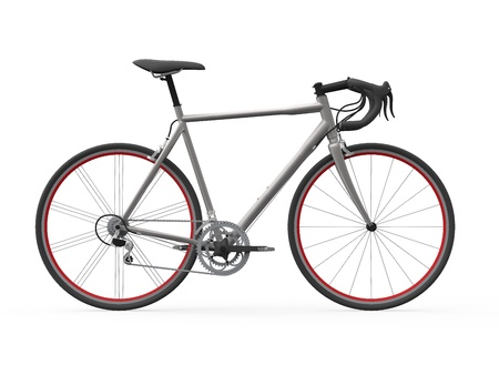 white trim: Speed Racing Bicycle Isolated on White Background Stock Photo