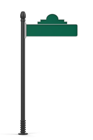 blank road sign: Blank Green Road Sign Isolated on White Background