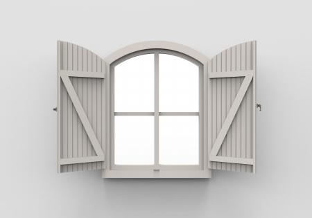 Opened Window on White Background photo