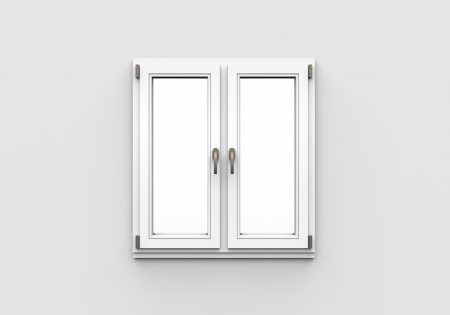 Closed Plastic Window on White Background photo