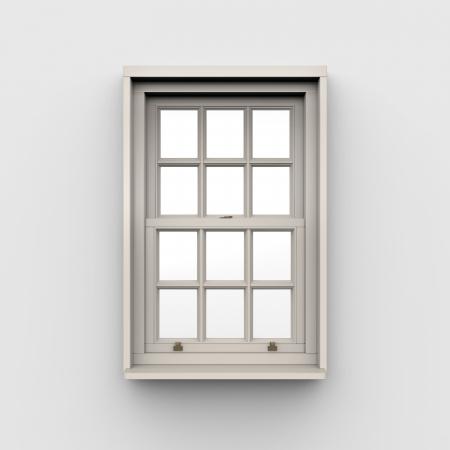 open window: Closed Window on White Background Stock Photo
