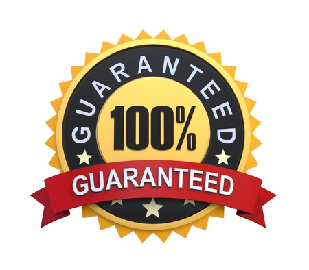gold seal: Guaranteed Label with Gold Badge Sign Stock Photo