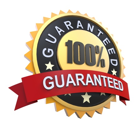 Guaranteed Label with Gold Badge Sign photo