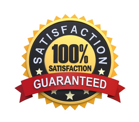 guaranteed: Satisfaction Guaranteed Label with Gold Badge Sign Stock Photo