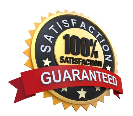 percentage: Satisfaction Guaranteed Label with Gold Badge Sign Stock Photo