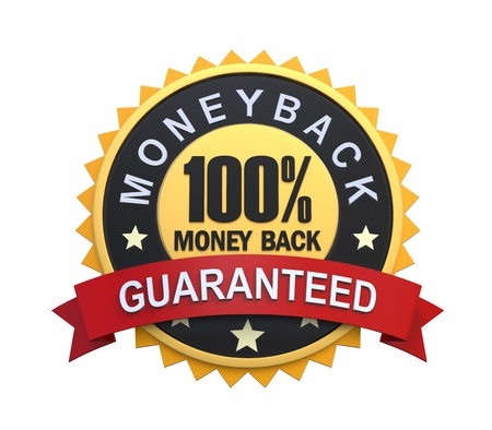 medallion: Money Back Guaranteed Label with Gold Badge Sign