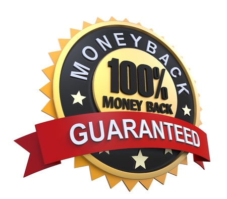Money Back Guaranteed Label with Gold Badge Sign photo