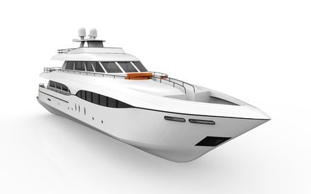 3d boat: White Pleasure Yacht Isolated on White Background