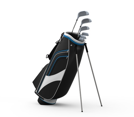 golf stick: Golf clubs and Bag Isolated on White Background Stock Photo