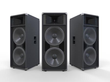 Grands parleurs audio isolé sur fond blanc