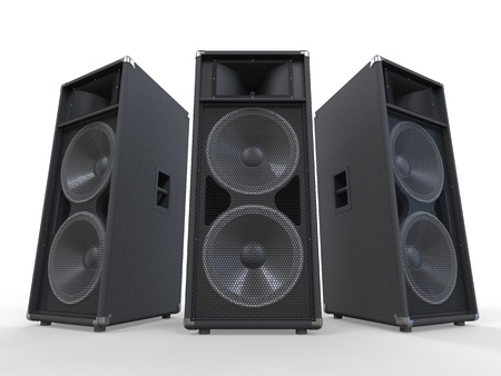 equipo de sonido: Grandes Audio Altavoces aislados en el fondo blanco Foto de archivo