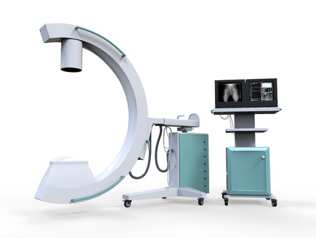 x ray equipment: C Arm X-Ray Machine Scanner Stock Photo