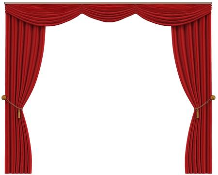 curtain theater: Cortinas rojas aisladas en el fondo blanco