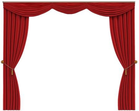 theater auditorium: Red Curtains Isolated on White Background