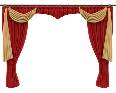 performing: Red Curtains Isolated on White Background