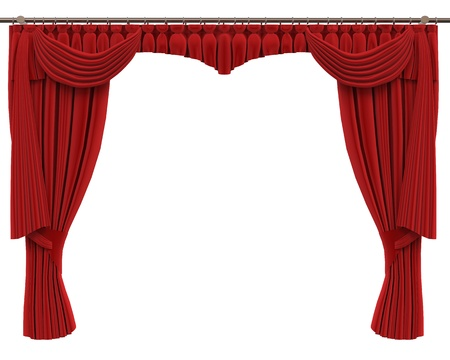 velvet rope: Red Curtains Isolated on White Background