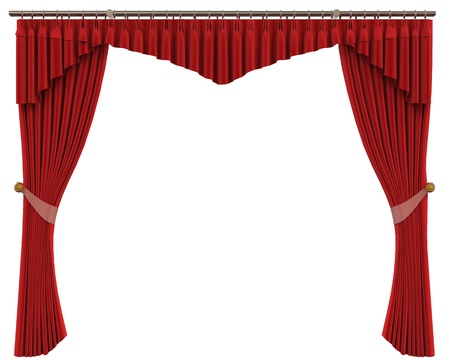 Red Curtains Isolated on White Background photo