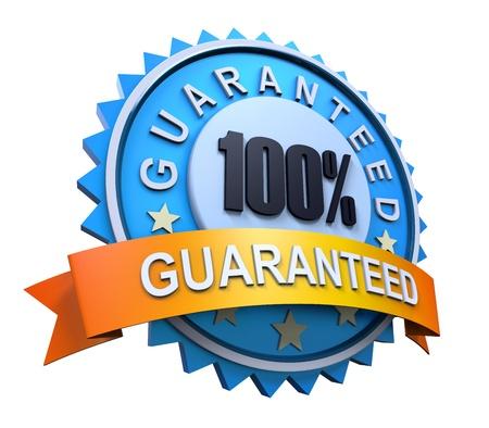 satisfaction guaranteed: Guaranteed Label with Gold Badge Sign Stock Photo