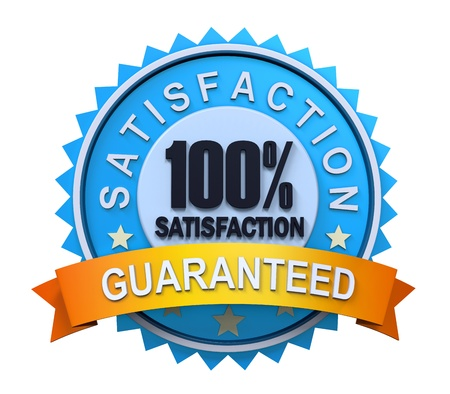 Guaranteed Label with Gold Badge Sign Stock Photo
