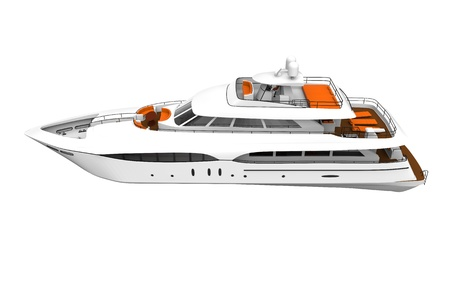 White Pleasure Yacht Isolated on White Background photo