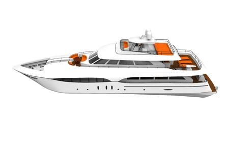 power boat: White Pleasure Yacht Isolated on White Background