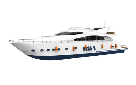 speedboat: White Pleasure Yacht Isolated on White Background