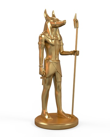 ankh cross: Egyptian Anubis Statue