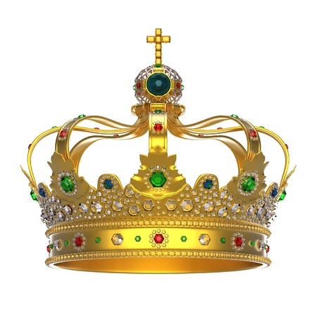 king crown: Gold Royal Crown with Jewels Stock Photo