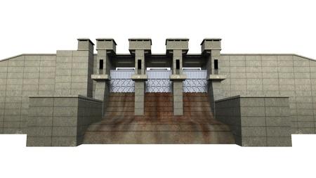 Dam Isolated on White Background photo