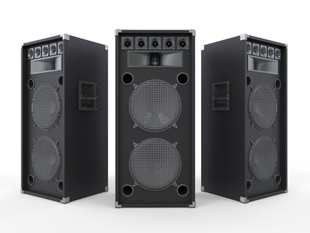 amplifier: Large Audio Speakers Isolated on White Background