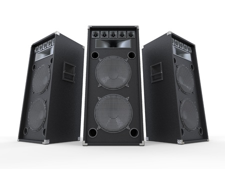 party system: Large Audio Speakers Isolated on White Background