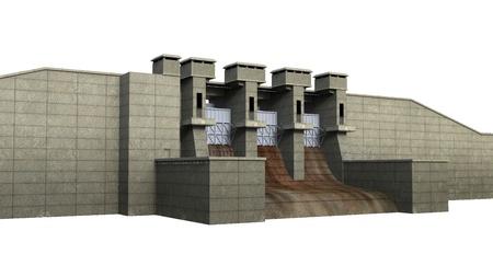 Dam Isolated on White Background