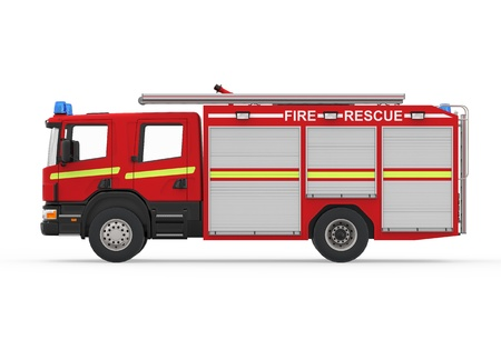 fire car: Fire Truck Isolated on White Background