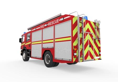 voiture de pompiers: Camion de pompier isolé sur fond blanc