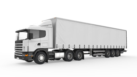Cargo Delivery Truck Isolated on White Background