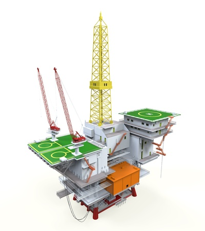 plataforma: Plataforma de perforaci�n mar adentro de la plataforma petrolera Foto de archivo