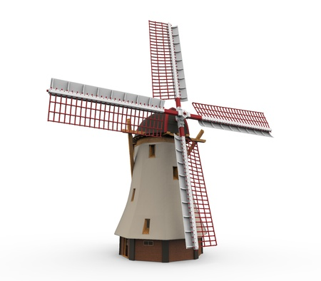 holland landscape: Dutch Windmill Isolated Stock Photo