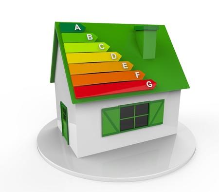 effizient: Haus mit Energie-Effizienz-Levels