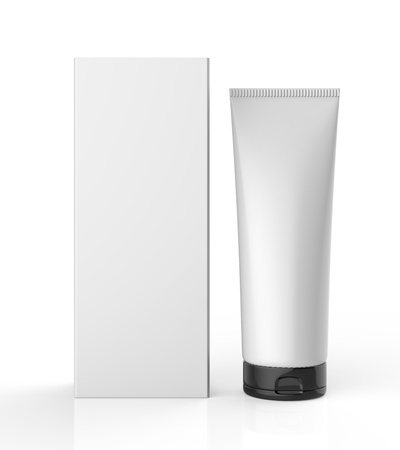 grayscale: Standing White Tube with Package