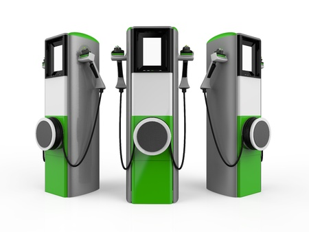 electric automobile: Electric Vehicle Charging Station Stock Photo