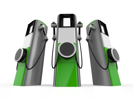 electric charge: Electric Vehicle Charging Station Stock Photo